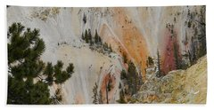 Hand Towel featuring the photograph Painted Canyon At Lower Falls by Michele Myers