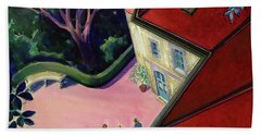 Painting Of A House With A Patio Hand Towel
