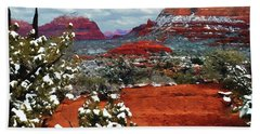 Painting Secret Mountain Wilderness Sedona Arizona Hand Towel by Bob and Nadine Johnston