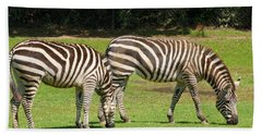 Hand Towel featuring the photograph Pair Of Zebras by Charles Beeler
