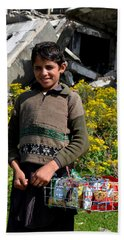 Bath Towel featuring the photograph Pakistani Boy In Front Of Hotel Ruins In Swat Valley by Imran Ahmed