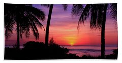 Palm Tree Sunset In Paradise Hand Towel