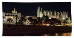 Palma Cathedral Mallorca At Night Bath Towel