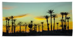 Palm Trees At Dawn Hand Towel