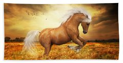 Bath Towel featuring the painting Palomino Horse Sundance  by Shanina Conway
