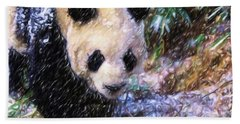 Hand Towel featuring the painting Panda Bear Walking In Forest by Lanjee Chee
