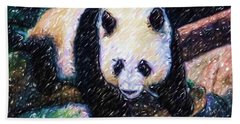 Hand Towel featuring the painting Panda In The Rest by Lanjee Chee