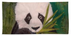 Hand Towel featuring the painting Panda by Jenny Lee