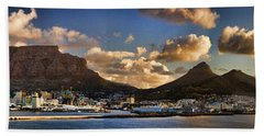 Panorama Cape Town Harbour At Sunset Hand Towel
