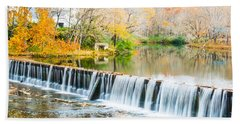 Panorama Of Buck Creek In Autumn Bath Towel