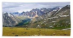 Panorama Of Rocky Mountains In Jasper National Park Hand Towel