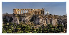 Panorama Of The Acropolis In Athens Hand Towel