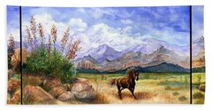 Panorama Triptych Don't Fence Me In  Bath Towel by Marilyn Smith