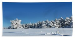 Panorama With Trees Covered With Snow In A Sunny Winter Day Hand Towel