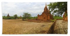 Bath Towel featuring the photograph Panoramic View Next To Dhammayazika Pagoda Built In 1196 By King Narapatisithu by Ralph A  Ledergerber-Photography