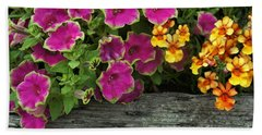 Pansies And Petunias Bath Towel by Patricia Strand
