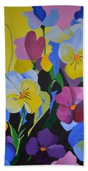 Bath Towel featuring the painting Pansies by Donna Blossom
