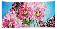 Pansy Pinwheels And The Magical Butterflies With Blue Skies Bath Towel by Kimberlee Baxter