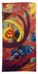 Bath Towel featuring the painting Pansymania by Donna Tuten