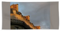 Bath Towel featuring the photograph Paris At Sunset by Ann Horn