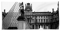 Paris Black And White Photography - Louvre Museum Pyramid Black White Architecture Landmark Bath Towel by Kathy Fornal