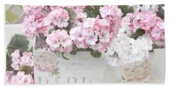 Shabby Chic Paris Pink Flowers, Parisian Shabby Chic Paris Flower Box - Paris Floral Decor Hand Towel