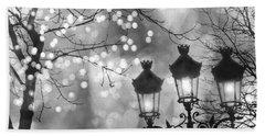 Paris Christmas Sparkle Lights Street Lanterns - Paris Holiday Street Lamps Black And White Lights Bath Towel