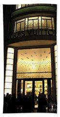 Paris Louis Vuitton Boutique Store Front - Paris Night Photo Louis Vuitton - Champs Elysees  Hand Towel by Kathy Fornal