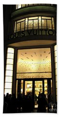 Paris Louis Vuitton Boutique Store Front - Paris Night Photo Louis Vuitton - Champs Elysees  Bath Towel by Kathy Fornal