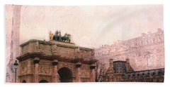 Paris Louvre Museum Arc De Triomphe Architecture Buildings - Watercolor Paris Landmarks Hand Towel by Kathy Fornal