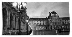 Paris Louvre Museum Lanterns Lamps - Paris Black And White Louvre Museum Architecture Hand Towel by Kathy Fornal