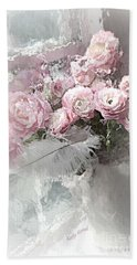 Paris Pink Impressionistic French Roses And Ranunculus - Shabby Chic Romantic Pink Flowers Hand Towel