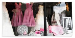 Paris Pink White Bridal Dress Shop Window Paris Decor Hand Towel by Kathy Fornal