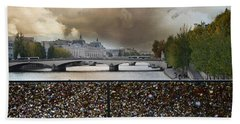 Paris Pont Des Art Bridge Locks Of Love Bridge - Romantic Locks Of Love Bridge View  Bath Towel by Kathy Fornal