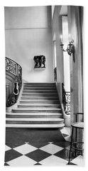 Paris Rodin Museum Black And White Fine Art Architecture - Rodin Museum Entry Staircase Bath Towel