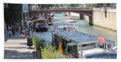 Bath Towel featuring the photograph Paris - Seine Scene by HEVi FineArt