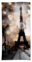 Paris Surreal Fantasy Sepia Black Eiffel Tower Bokeh Hearts And Circles - Paris Sepia Fantasy Nights Bath Towel by Kathy Fornal