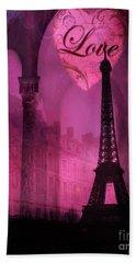 Paris Romantic Pink Fantasy Love Heart - Paris Eiffel Tower Valentine Love Heart Print Home Decor Hand Towel
