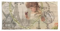 Paris Vintage Collage With Child Hand Towel