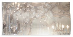 Paris Dreamy White Gold Ghostly Crystal Chandelier Mirrored Reflection - Paris Crystal Chandeliers Bath Towel by Kathy Fornal