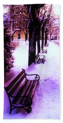 Park Benches In Snow Bath Towel by Nina Ficur Feenan