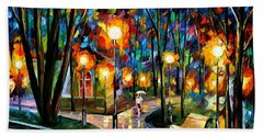 Park By The Lake - Palette Knife Oil Painting On Canvas By Leonid Afremov Hand Towel