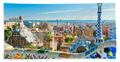 Park Guell - Barcelona Bath Towel by Luciano Mortula