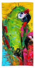 Parrot Lovers Hand Towel by Mona Edulesco