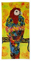 Bath Towel featuring the tapestry - textile Parrot Oshun by Apanaki Temitayo M