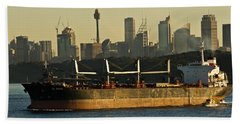 Passing Sydney In The Sunset Hand Towel by Miroslava Jurcik