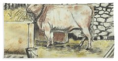 Cow In A Barn Hand Towel by Francine Heykoop