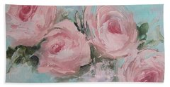 Pastel Pink Roses Painting Hand Towel by Chris Hobel