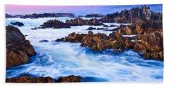 Pastel Tides - Rocky Asilomar Beach In Monterey Bay At Sunset. Bath Towel