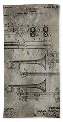 Patent Art Trombone Hand Towel by Dan Sproul
